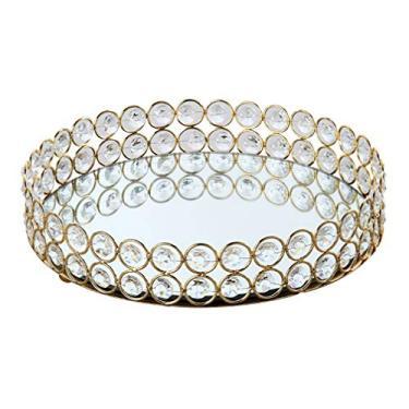 Imagem de IMIKEYA Bandeja de cristal redonda espelhada, bandeja organizadora de joias, bandeja decorativa para vela para perfumes, cômoda de mesa de café