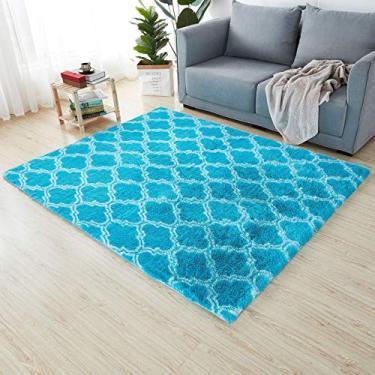 Imagem de Tapete de banheiro moderno com tapete azul branco fofo antiderrapante tapete para área de estar casa quarto tapete para banheiro 1,6' x 2,6'