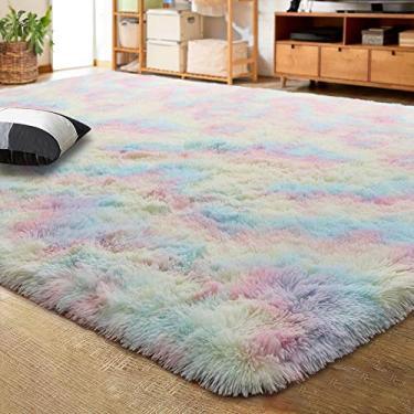 LOCHAS Tapete de veludo luxuoso para áreas internas de pelúcia, tapete extra macio e confortável, tapetes de arco-íris fofos para quarto, sala de estar, meninas, berçário, sala de aula, 9 x 1,5 m
