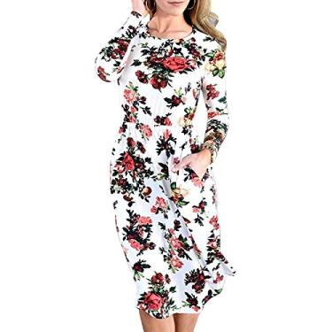 Vestido feminino Hajotrawa camiseta de manga comprida casual estampa floral com bolsos, Marfim, S