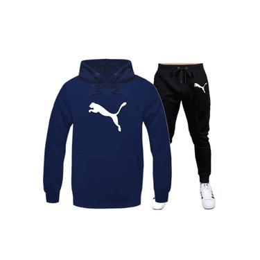 Conjunto moletom puma azul com preto blusa mais Calça