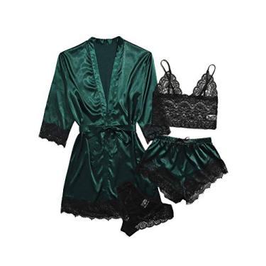 SOLY HUX Pijama feminino de cetim com acabamento em renda floral e robe, Olive Green, XS