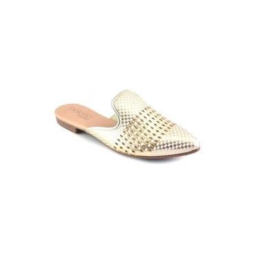 Sapato Feminino Beira Rio Mule Dourado/Branco 4134
