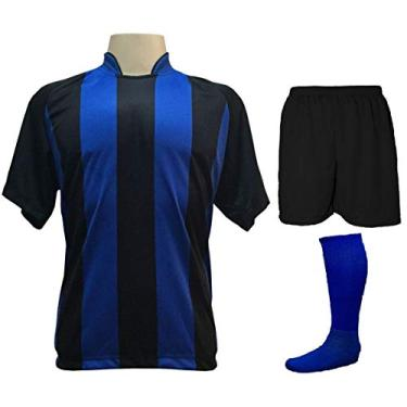 Fardamento Completo modelo Milan 20+1 (20 camisas Preto/Royal + 20 calções modelo Madrid Preto + 20 pares de meiões Royal + 1 conjuntos de goleiro) + Brindes