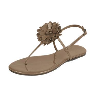 Rasteira Mercedita Shoes Flor Verniz Areia  feminino