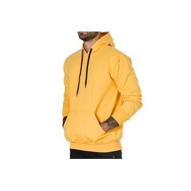 Blusa de Moletom Canguru Casaco Sem estampa Básico Ref04 Modelo Com Bolso Cor Amarelo
