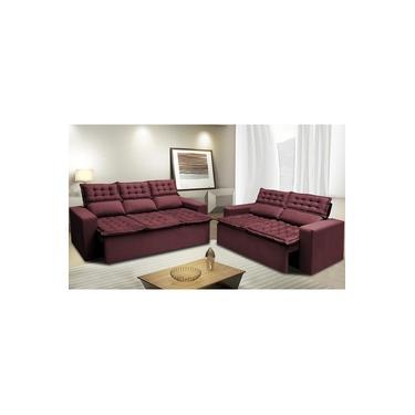 Imagem de Conjunto de Sofá 3 e 2 Lugares Retrátil e Reclinável Cama inBox Slim 2,00x1,50m Velusoft Vinho