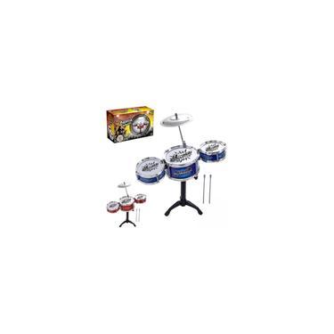 Imagem de Mini Bateria Infantil 3 Tambores 1 Prato e 2 Baquetas Brinquedo Crianca