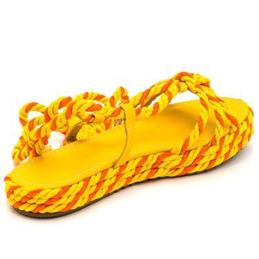 Imagem de Sandália Rasteira Aberta Flat Em Napa Amarelo Com Detalhes Sisal Amarelo E Laranja  feminino