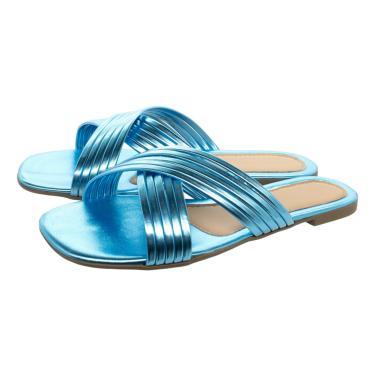 Sandalia Rasteira Bico Quadrado Chinelo Tira Brilho Rasteirinha Olzzy Azul Celeste Metalizado  feminino