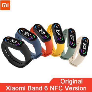 Xiaomi-relógio inteligente mi band 6, smartband com tela amoled, bluetooth, monitoramento de