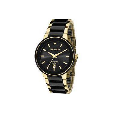 Relógio Feminino Technos Ceramic Elegance 2115KRS 4P Pulseira Dourado Preto f7e043976b