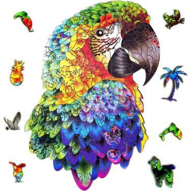 Imagem de 3D Quebra Cabeça Puzzle De Madeira Animal Parrot 101 Peças - Brastoy