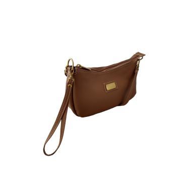 Bolsa Carteira Clutch TopGrife Transversal Couro Caramelo  feminino