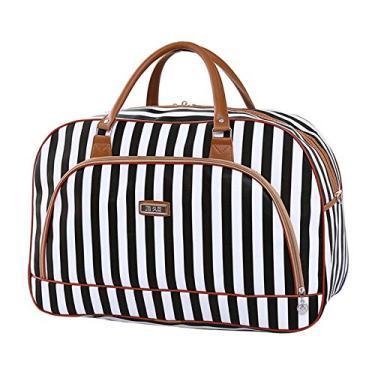 Imagem de oshhni Bolsa feminina de couro PU para viagem noturna, fim de semana, bolsa de mão, hospital, hospital, Listras femininas, Black and White Stripes