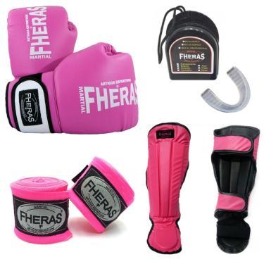 Kit Boxe Muay Thai Fheras Luva Bucal Caneleira Bandagem 10OZ