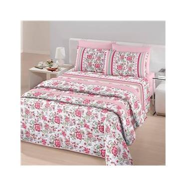 Jogo de cama solteiro linha Royal Plus Duplo 100% algodão estampa Yara na cor rosa - Santista