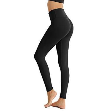 Calça legging feminina ZOOSIXX de cintura alta para controle de barriga e calça fina opaca elástica para corrida, yoga, treino, Black1, One Size