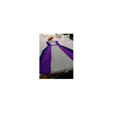 Elegante decote em V com cobertura de cintura definida manga slim patchwork vestido longo casual