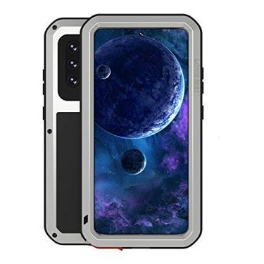 Capa para Galaxy A52, capa para Samsung A52 com protetor de tela de vidro integrado, proteção de liga de alumínio, extremo à prova de choque, capa resistente para Samsung Galaxy A52 4G e 5G (prata)