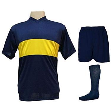 Imagem de Uniforme Esportivo Completo modelo Boca Juniors 14+1 (14 camisas Marinho/Amarelo + 14 calções Madrid Marinho + 14 pares de meiões Marinho + 1 conjunto de goleiro) +