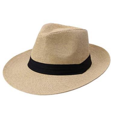 IMIKEYA Chapéu de sol dobrável chapéu de praia elegante estilo simples casual masculino (cáqui)