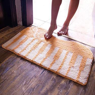 Imagem de ZBHDC Tapetes de banheiro fáceis de limpar, tapete de chuveiro de microfibra macio, tapete de banheiro antiderrapante, tapete confortável, piano de decoração de casa, laranja, 40 x 60 cm