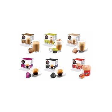 Kit com 06 Caixas Total 96 Cápsulas Nescafé Dolce Gusto SELEÇÃO um - Cappuccino Au Lait Nescau Espresso Matinal Espresso Intenso