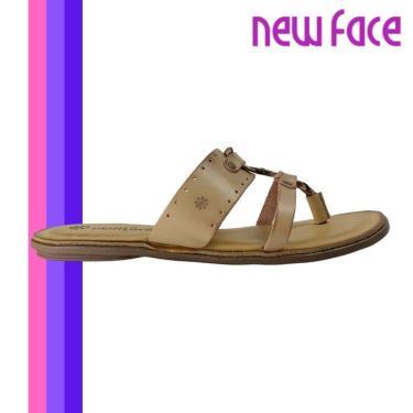 Sandalia Slide New Face Rasteirinha Couro