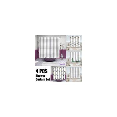 Imagem de 180x180 4 Pcs Conjunto de Cortina de Chuveiro Tapete de Banheiro Tapete de Banheiro à Prova D 'Água Colorido Estilo Mulheres para Decoração Do Banheiro