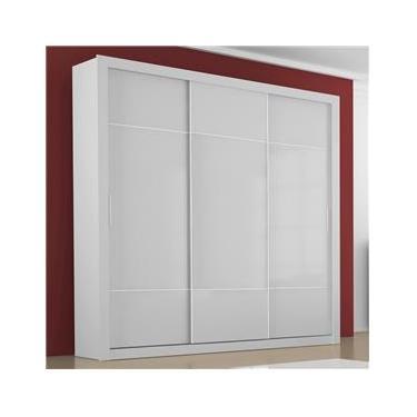 b2a571240 Guarda-roupa 3 Portas de Correr Arezzo 100% MDF 4 Gavetas sem Espelho Branco