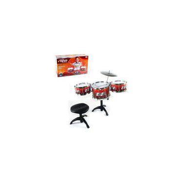 Super Bateria Musical Infantil Com Banqueta Completa Jazz Drum Meu Ritmo
