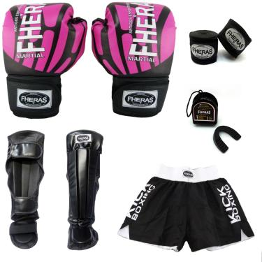 Kit Boxe Luva Bandagem Bucal Caneleira Shorts 14 oz