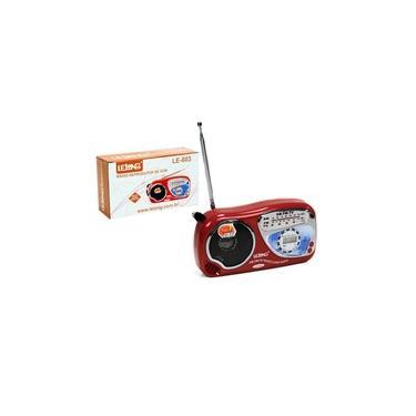 Mini Rádio Portátil Am Fm com Relógio lelong Le-603