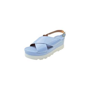 Sandália Plataforma Verniz - Azul