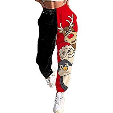 Calça de moletom feminina Merry Christmas com cordão para correr, ioga, lounge, xadrez, boneco de neve, corrida, fitness, C-13, Medium