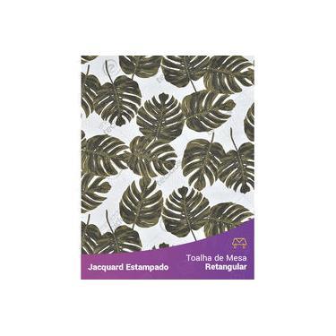 Imagem de Toalha De Mesa Retangular Em Tecido Jacquard Estampado Floral Costela De Adão Verde Musgo