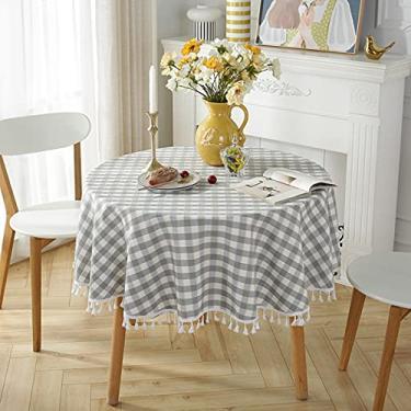 Imagem de jia cool Toalha de mesa de linho de algodão com borla para jantar de cozinha, toalhas de mesa sem rugas (220 cm redondo, cinza dourado)