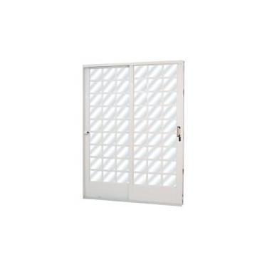 Porta de Correr Aço 2 Folhas com Vidro Liso Minas Sul MGM 215cmx160cm Branco -
