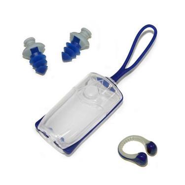 Kit Clips Protetores P/ Ouvido E Nariz Aqua Sphere - Azul/Cinza