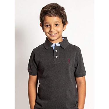 Camisa Polo Aleatory Infantil Lisa Mescla-Chumbo-10