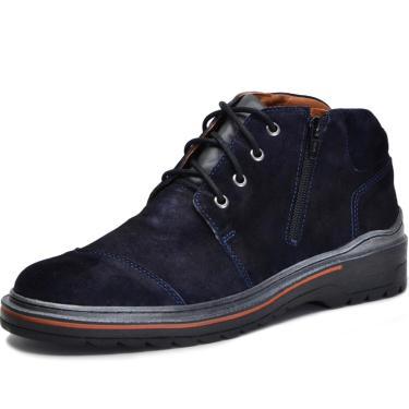 Bota Worker Over Boots Couro Camurça Azul Naval Urban  masculino