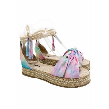 Sandália Plataforma Fabíola Pezzi Amarração Tie Dye Fla Bege  feminino