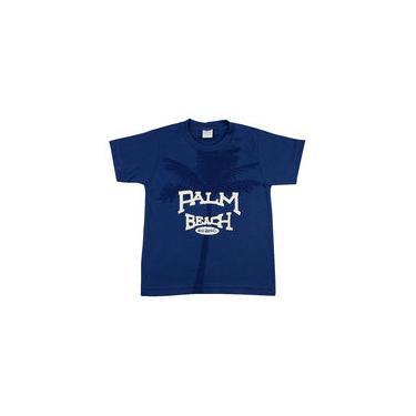 Camiseta Infantil Meia Malha Palm Beach - Azul Jeans