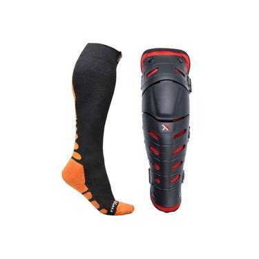 Joelheira Mattos Racing Combat Preto/vermelho + Meia Mx Socks