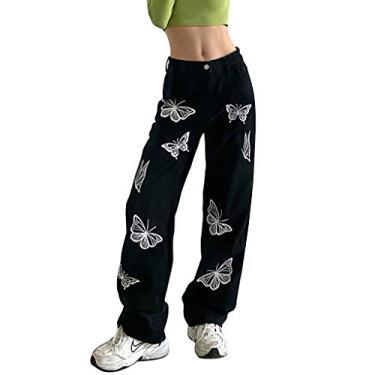 Jeans feminino Y2K Baggy Streetwear Jeans Feminino Y2K Fashion Cintura Alta Jeans Calças Estilo Vintage, Xwx2201225ap03, S