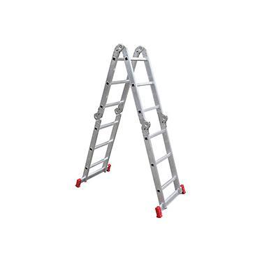 Imagem de Escada Articulada Multifuncional 12 Degraus 13 Posições Alumínio - Botafogo Lar e Lazer
