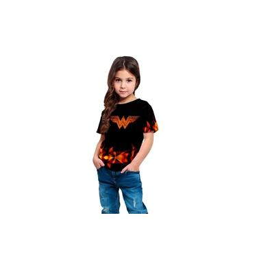 Camiseta Infantil Menina Mulher Maravilha Fire