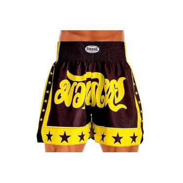 Imagem de Shorts Muay Thai Boxe Bermuda Calção Amarelo e Preto Estrela