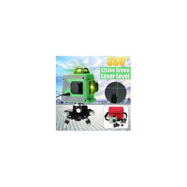 3D 12Line Verde Laser Nível Auto Nivelamento 360 ° Rotary Cruz Medida Ao Ar Livre
